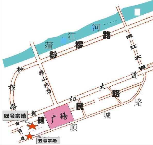 蒲江县鹤山镇,南临顺城路,东临现状道路,西临全兴路,北临规划道路